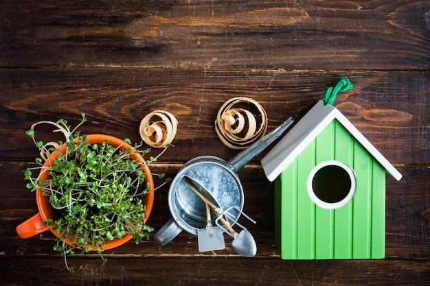 Зеленый скворечник, ростки мини-зеленого в чашке, лейка и бамбуковая биоразлагаемая вилка и нож из натурального экологически чистого многоразового материала на дереве