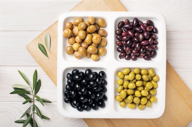 Green black aragon and split olives