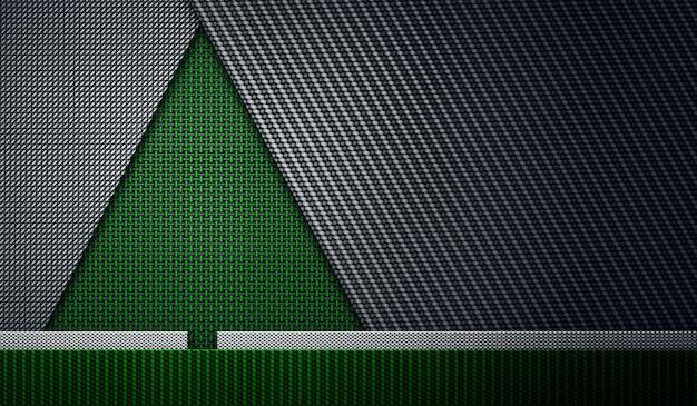 크리스마스 또는 새해에 녹색 검정 탄소 섬유 질감 firtree 모양 그림 인사말 카드