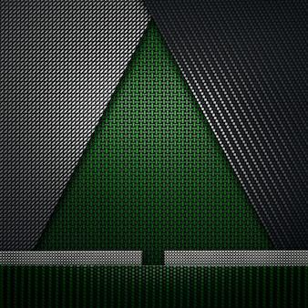 크리스마스 또는 새해를 위한 녹색 검정 탄소 섬유 질감 firtree 모양 소재 디자인