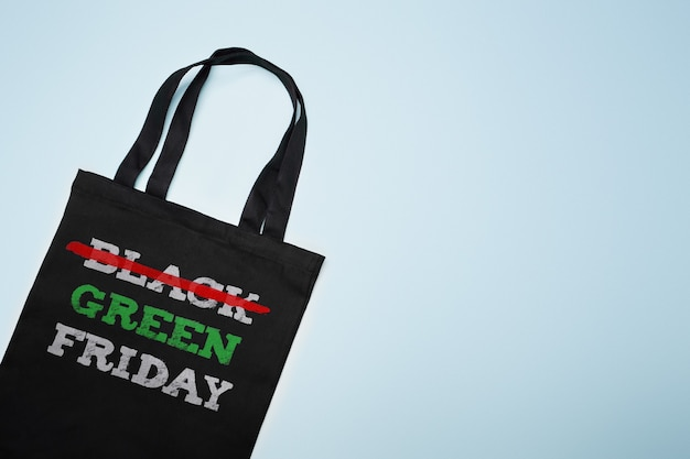 Green black friday. cotton shopping bag with text