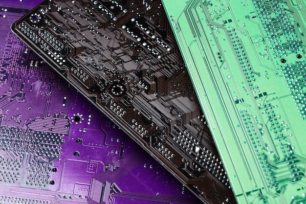 Green, black and purple circuit board