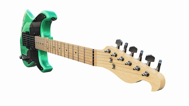 Green and black six-string electric guitar on a white isolated background. 3d rendering.