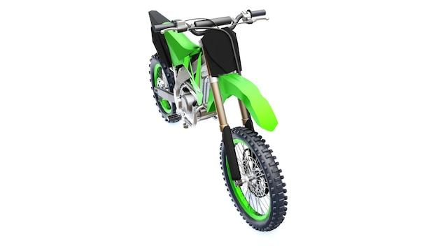 Green and black sport bike for cross-country on a white background. racing sportbike. modern supercross motocross dirt bike. 3d rendering.