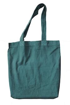 Зеленые пустые сумки тоте хлопка кладут в мешки многоразового хлопка многоразовые