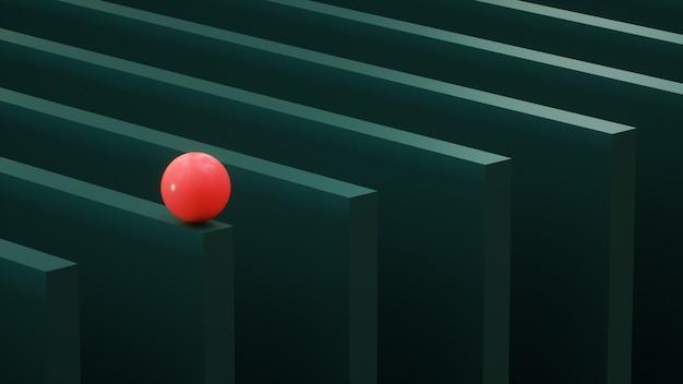 Зеленые блоки, на которых стоит красный шар, 3d-рендеринг