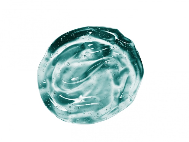 Зеленый синий косметический гель образец на белом