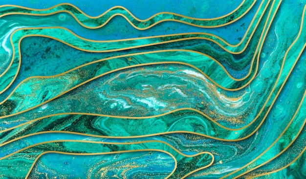Green, blue and gold ripple background. marble texture with layers. gold particles.
