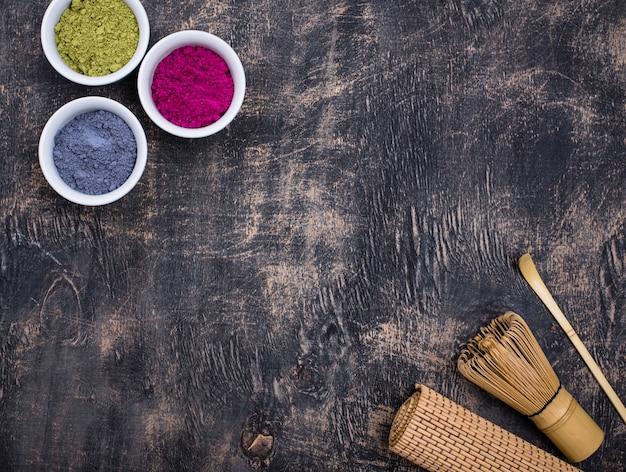 Green, blue and pink matcha powder