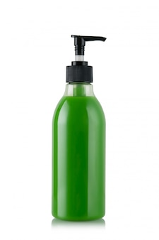 Зеленая бутылка жидкого мыла или геля с помпой