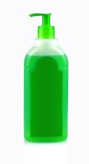 Green bottle with shampoo with dispenser