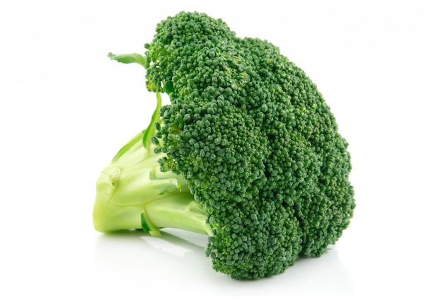 Green broccoli cabbage vegetable isolated on white