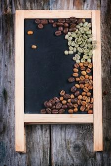Green, brown and black coffee on chalckboard