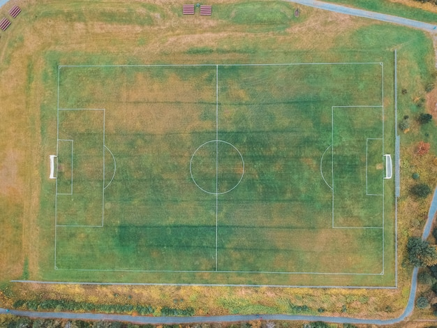 Green and brown soccer field