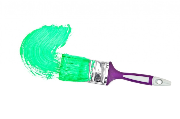Green brush stroke forming a semicircle