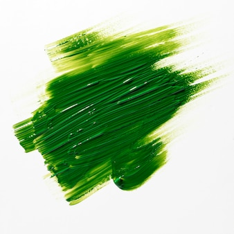 Green brush stroke on white background