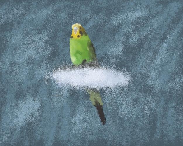 分離された青い背景の上の雲の上に座っている緑のセキセイインコ