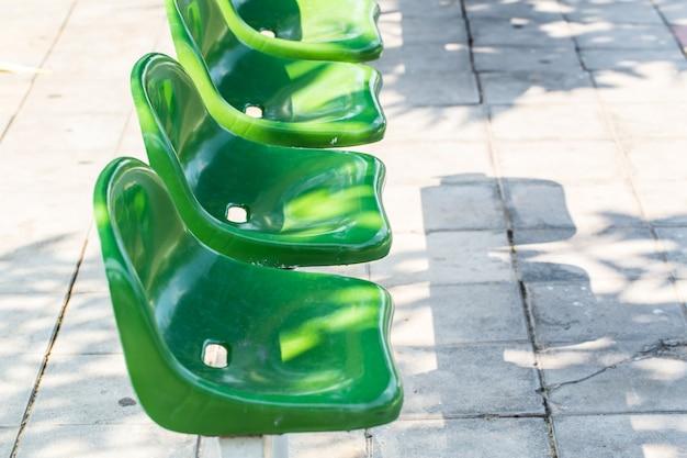 Green bus bench in thailand