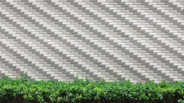 벽 벽돌에 녹색 숲 프리미엄 사진