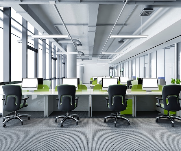 Green business meeting and working room on office building