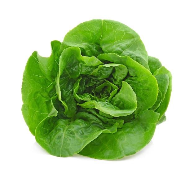 緑のバターレタス野菜または白い背景で隔離のサラダ