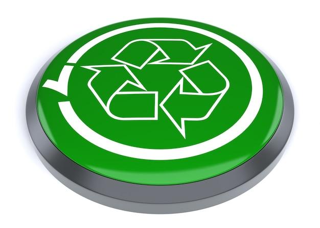 緑のボタンリサイクラー。デジタル生成された3d画像。