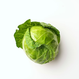 Green cabbage isolated on white background, top view