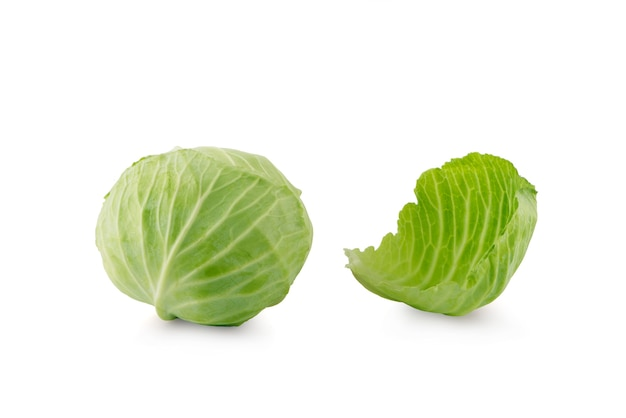 Green cabbage isolated on white surface