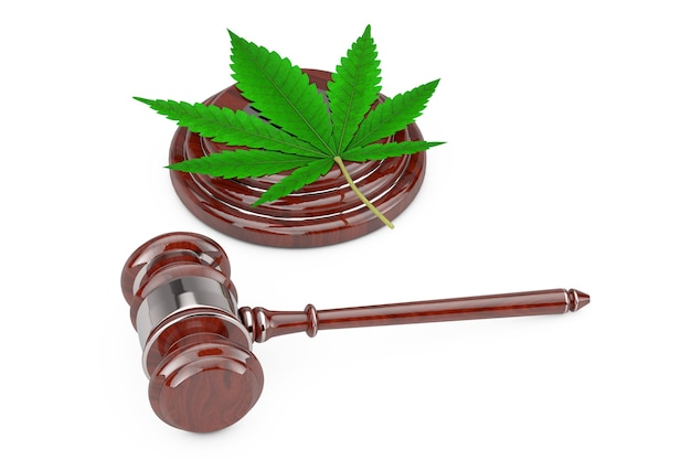 Green cannabis leaf with red wooden judge gavel on a white background. 3d rendering
