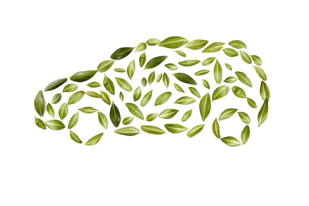 Green car symbol from leaves, isolated on white background