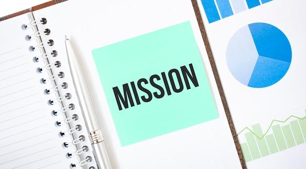 Зеленая карта на белом блокноте. текстовая миссия. бизнес-концепция