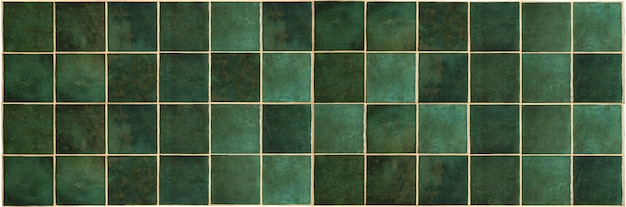 Green ceramic tile background old vintage ceramic tiles in green to decorate the kitchen or bathroom