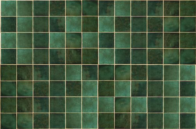 Зеленая керамическая плитка фон старая винтажная керамическая плитка в зеленом цвете для украшения кухни