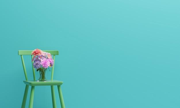 ミントグリーン色のリビングルームの緑の椅子。