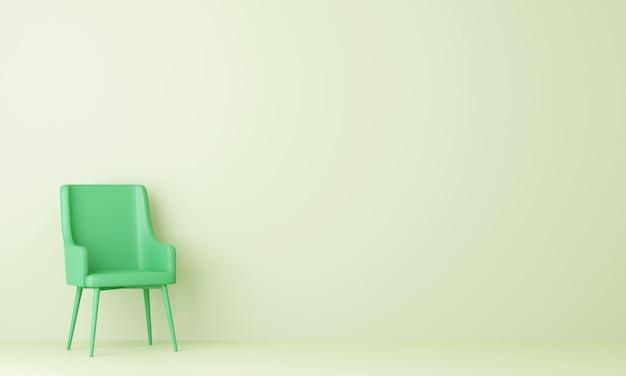 パステルグリーンのリビングルームの緑の椅子。 3dレンダリング。