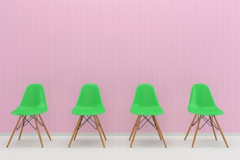 Green chair pink pastel wall white wood floor background texture mouckup