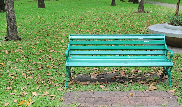 Green chairs in the public park with fall dried leaves around. feel lonely and peaceful.