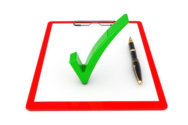 흰색 바탕에 빈 종이와 펜이 있는 빨간색 클립보드 위에 녹색 확인 표시가 있습니다. 3d 렌더링
