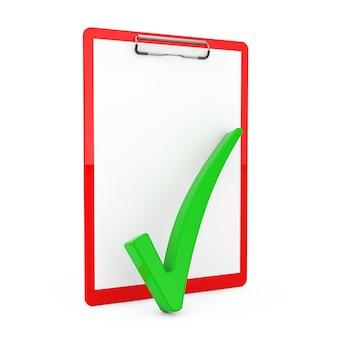 흰색 배경에 빈 종이가 있는 빨간색 클립보드 위에 녹색 확인 표시가 있습니다. 3d 렌더링