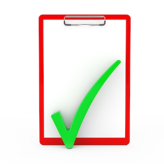 Green check mark over red clipboard with blank paper on a white background. 3d rendering