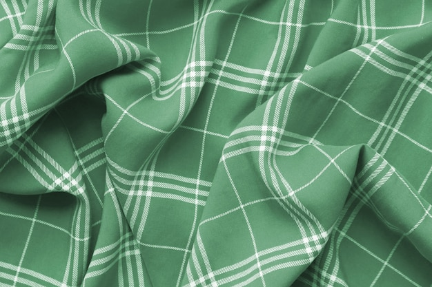 Green checkered plaid clothes material.