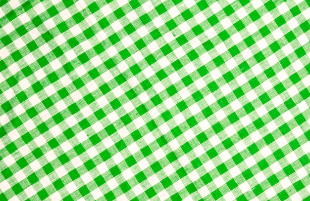 Green checkered tablecloth texture