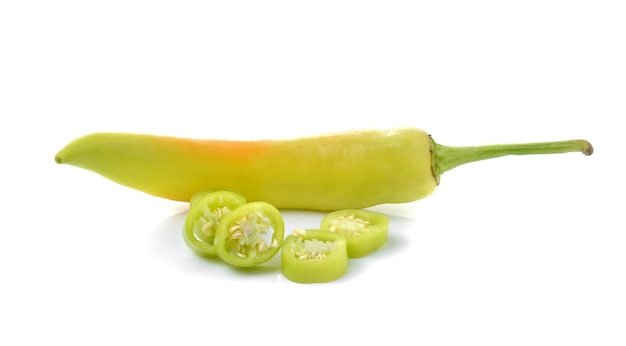 Green chilli pepper  isolated.