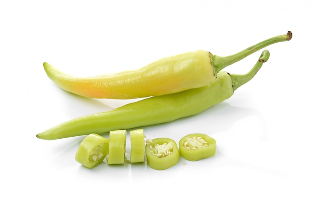 Green chilli pepper  on white isolated .