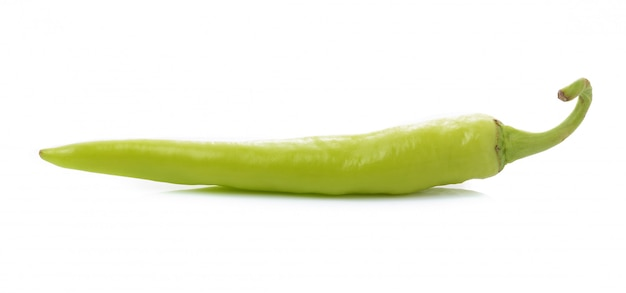 Green chilli pepper  on white isolated.