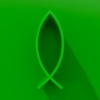 Зеленый знак рыбы христа. 3d-рендеринг