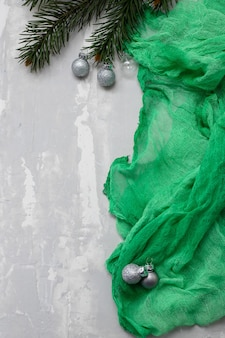 Green christmas background on ceramic
