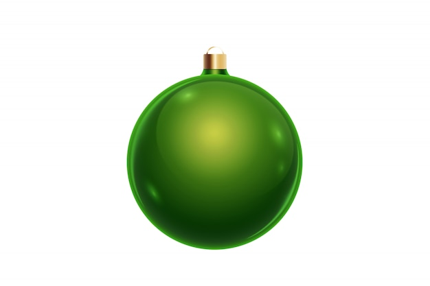 Green christmas ball isolated on white background. christmas decorations, ornaments on the christmas tree.