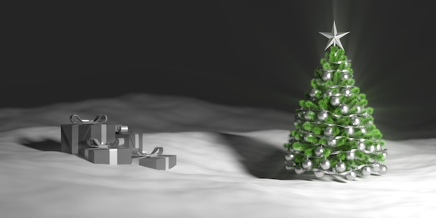Green christmas tree in the snow next to gift boxes, 3d illustration