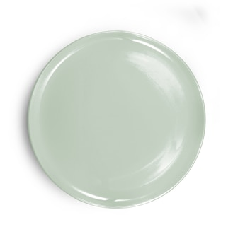 Green circle plate on white background